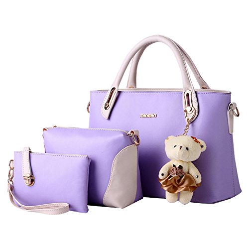 MissFox Elegante Da Donna Cerniera Design Handbag Shoulder Bag Tote Bag 3 Pezzi Viola
