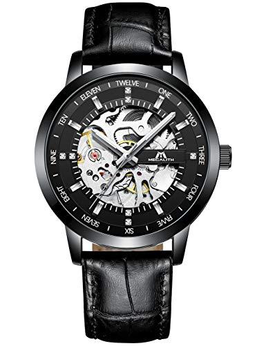 Herren Automatikuhr Männer Mechanische Automatik Schwarz Militär Wasserdicht Skelett Designer Leder Leuchtende Armbanduhren Mann Steampunk Klassisch Analog Tourbillon Uhr