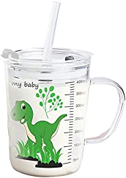 Volwco Drinking Cups With Lid And Straw For Kids, Leak Proof Regular Lids, Transparent With Scale Heat-Resista