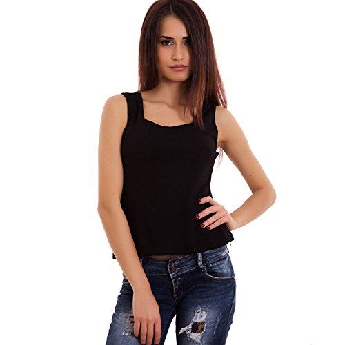 Toocool - Maglia donna top corto schiena aperture maglietta senza maniche nuova-SL-6826 Nero