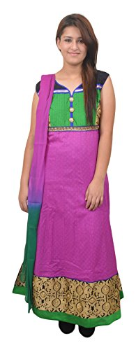 Manshi Women's cotton Salwar Suit Set (Pink & Green, X-Large)