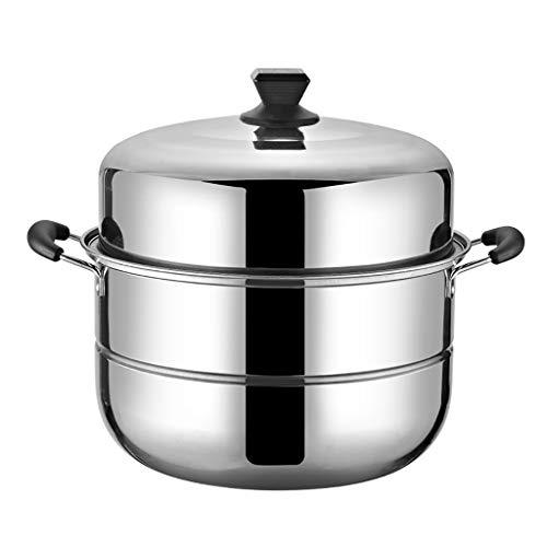 Acier inoxydable Steamer/marmite à soupe 2 couches avec des ménages à vapeur 30cm / 32cm / 34cm / 36cm / 38cm / 40cm épaissie Adapté for Cuisinière gaz/Cuisinière à induction Convient for 3-13 per