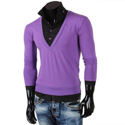 Tazzio Herren Pullover + Hemd Longshirt Longsleeve T-Shirt Polo Lila-Schwarz