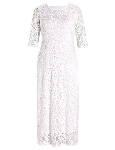 (Chicwe Damen Große Größen Strecken Spitze Maxi Kleid - Abend Hochzeits Cocktail Party Kleid Weiß Elfenbein 2X)