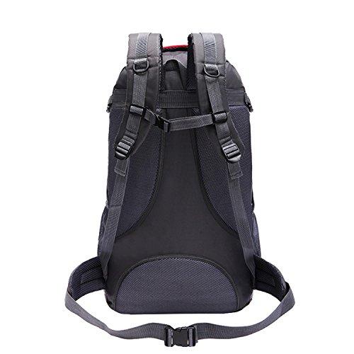 HWJF 60L im Freien Schulterbeutel große Kapazität wasserdichte kletternde Beutelkursteilnehmerfreizeit-Computerbeutel Black