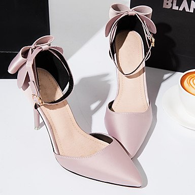 LYNXL Talloni delle donne Primavera Estate Club calzature Pelletteria Wedding ufficio & carriera Party & Sera tacco a spillo di Bowknot Nero Rosa Rosso Grigio Altro Pink