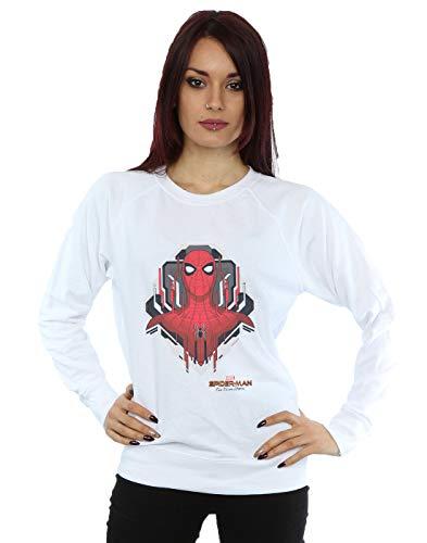 Marvel Damen Spider-Man Far from Home Web Tech Badge Sweatshirt Weiß Large -