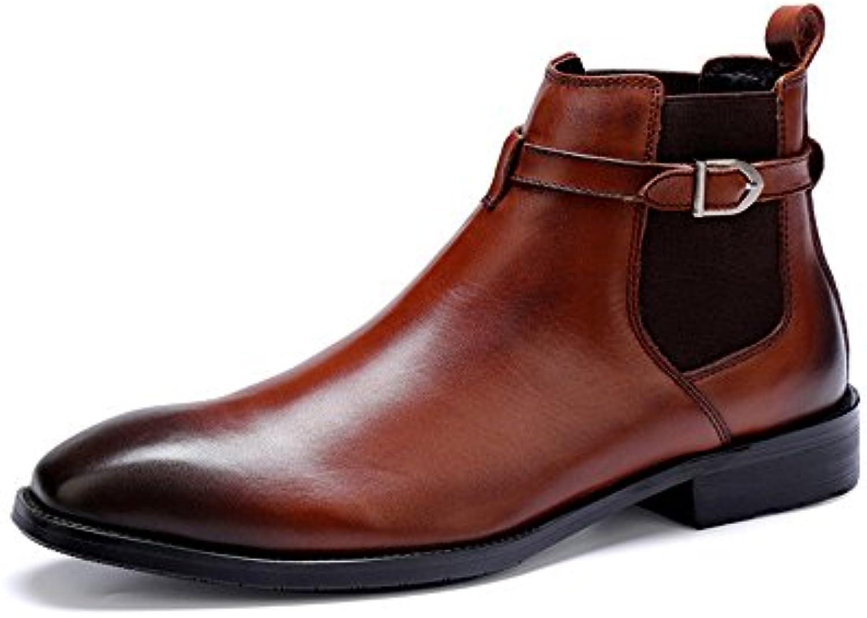 QXH Los hombres botas cortas Chelsea señaló piel elástica de fondo plano.  -