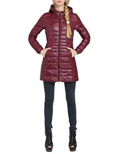 Zhhlinyuan Damen Daunenjacke Mit Kapuze Ultraleicht Mittlere Länge Down Jacket - Dünn Atmungsaktiv Übergröße Daunenmantel Wasserdicht -