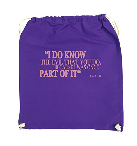 Comedy Bags - I DO KNOW THE EVIL - TABOO - Turnbeutel - 37x46cm - Farbe: Schwarz / Pink Lila / Rosa