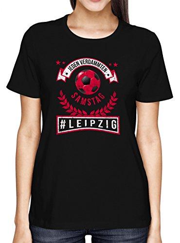 Leipzig #1 Premium T-Shirt Fussball Fan-Trikot #jeden-verdammten-Samstag Frauen Shirt, Farbe:Schwarz (Deep Black L191);Größe:L (Spaß Training Kleidung Frauen)