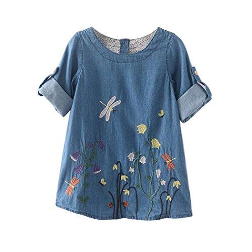 UI Toddler Mädchen Kleid Langarm Blumen Stickerei Denim Party Prinzessin Dress Casual T-shirt Kleid Frühlings Herbst Cocktailkleid Sommerkleider (140 (6-7Jahre), Hellblau) (Blume Mädchen Petticoat)
