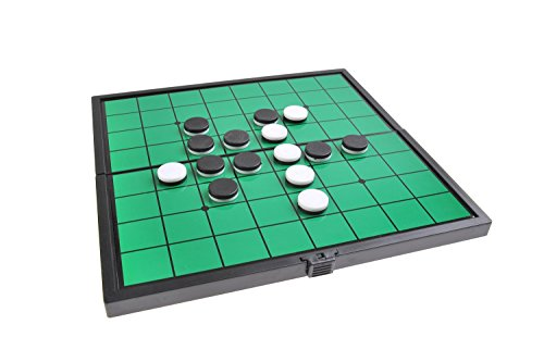 Juego de mesa magnético (tamaño compacto de viaje): Reversible - piezas magnéticas, tablero plegable, 19cm x 19cm x 1cm, Mod. SC6604 (DE)