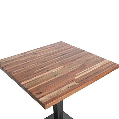Atypik Home Table Haute carrée en Teck sur Son Pied en Fer Noir