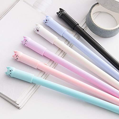 Gaddrt Weihnachtsverzierung Pen Niedliche Kawaii Cartoon Cat Gel Ink Pen Kugelschreiber 0.5mm Schwarze Tinte Student Pens 15cm (Rosa)