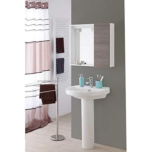 Badezimmer Spiegel im dunklen Eichentür, pvc 1 L68xH61xP17 mobilisiert cm