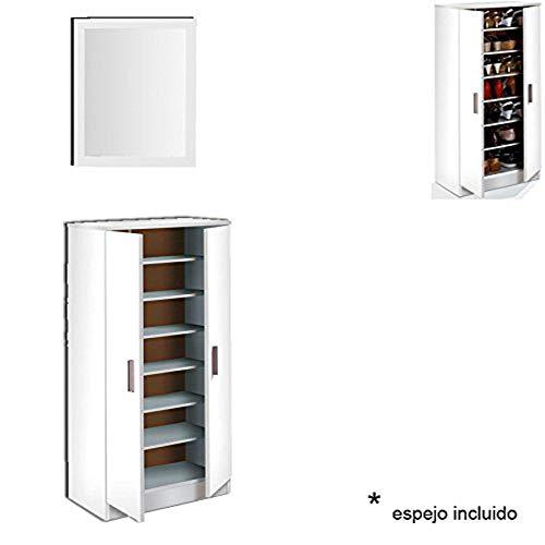 HABITMOBEL Armario 7 estantes Interiores con Espejo, Mueble Zapatero, Oficina o Mueble recibidor, Blanco...