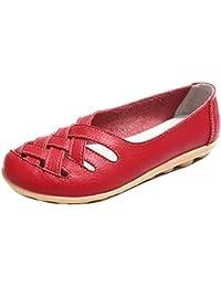 Fuxitoggo Mocasines Planos sin Cordones para Mujer (Color : Rojo, ...