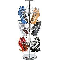UPP Zapatos de Rondell portátil & Giratorio-3Pisos Zapatero para 18Pares de Zapatos de Cromo