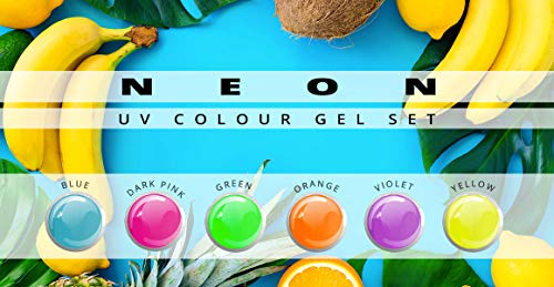 Gel couleur Fluo Lot de 6 nuances-Nail Studio Color Gel UV Set pour la conception des ongles professionnels