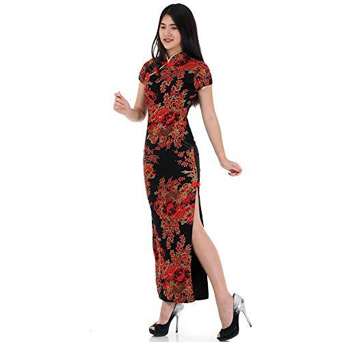 Cheongsam Kleid Muster (China Qipao Asia Kleid Elegant (Schwarz))
