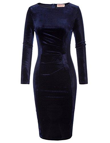 Belle Poque Ladies Velvet Hips-Wrapped Elegant Prom Gown Blu Navy (744-2) Piccolo