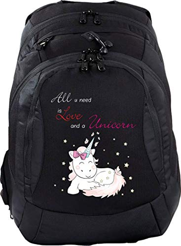 Mein Zwergenland Schulrucksack Teen Compact, 26 L, Schwarz, All You Need is Love and a Unicorn