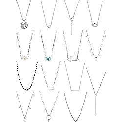 Yaomiao 15 Unidades Collar de Gargantilla en Capas para Mujeres Niñas Coin Star Cadena de Múltiples Capas Collares Conjunto Ajustable (Plata)