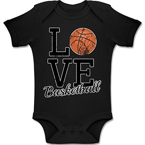 Sport Baby - Love Basketball - 3-6 Monate - Schwarz - BZ10 - Baby Body Kurzarm Jungen Mädchen