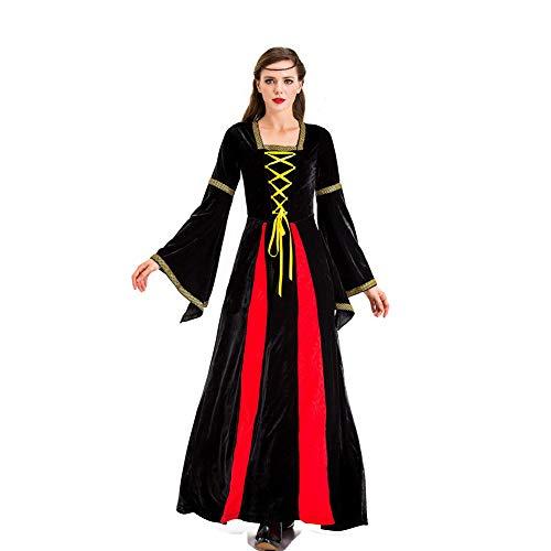 Themen Kostüm Europäische - MEMIND Halloween Kleider Erwachsene Frau Griechische göttin Gericht Prinzessin Königin kostüm Retro Europäischen Stil Königlichen Stil Drama bühne Kostüme Thema Party Kleidung,Schwarz,XXL