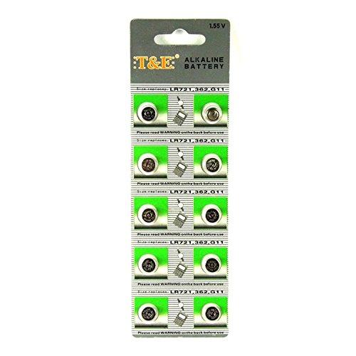 10 x T&E Knopfzellen Uhrenbatterien Uhren Batterie Alkaline AG11, 162, 361, 362, SR721, LR721