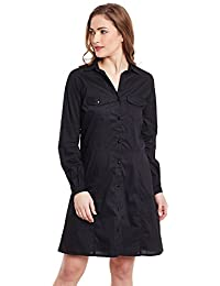 VAAK WOMENS BLACK TUNIC WITH FRONT OPENING AND DOUBLE STITCH DEAILS