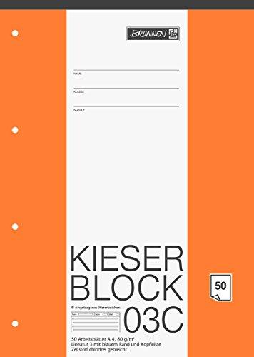 Brunnen 1042923 KIESER-Block Lineatur 3 (A4, 50 Blatt, blanko, 80 g/m², Klasse 3) - Block