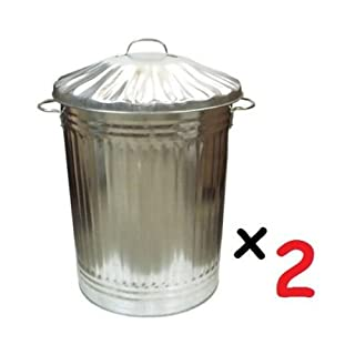 2 x Large 90L Litre Galvanised Steel Metal Bin Ideal for Animal Feed/Storage / Rubbish/Dustbin