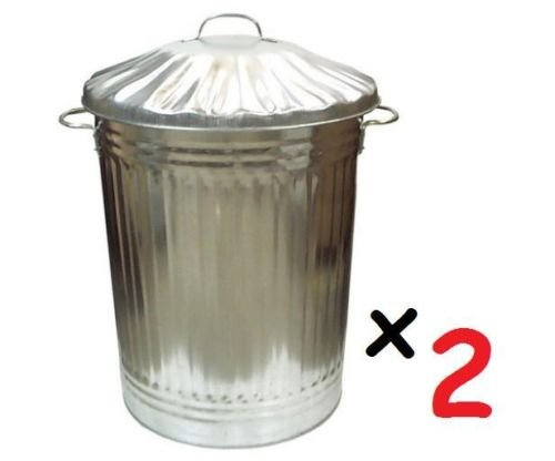 2 x Large 90L Litre Galvanised Steel Metal Bin Ideal for Animal Feed / Storage / Rubbish / Dustbin Test
