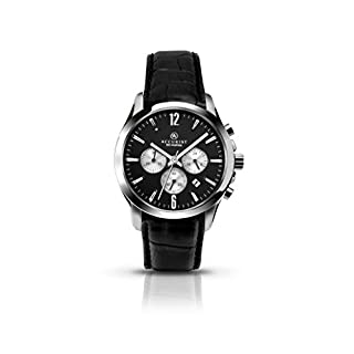 Accurist Men's Quartz Watch with Black Dial Chronograph Display and Black Leather Strap 7064