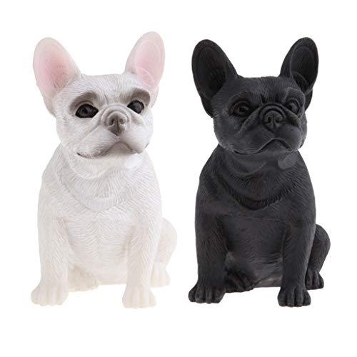2 Stück Sitzende Französische Bulldogge Figur Hundefigur Tierfigur Garten Deko -