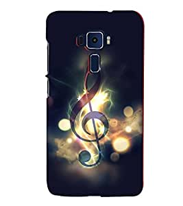 FUSON Treble Clef Vector Graphic 3D Hard Polycarbonate Designer Back Case Cover for Asus Zenfone 3 ZE552KL (5 Inches)