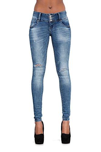 LustyChic Damen Jeanshose Blue 3 Button Ripped Jean