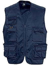 SOL'S - gilet reporter multipoches - veste légère sans manches BODYWARMER - 43630 - taille XXL - bleu marine - mixte homme femme