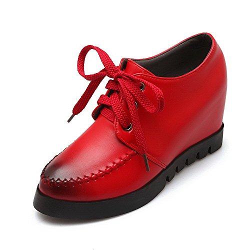 AgooLar Femme Pu Cuir à Talon Haut Rond Couleur Unie Lacet Chaussures Légeres Rouge
