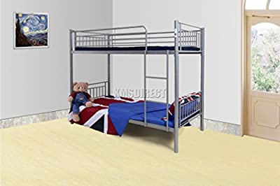FoxHunter 3FT Single Metal Frame Bunk Bed Children Kids Twin Sleeper No Mattress Bedroom Furniture Silver MBB03 produced by KMS - quick delivery from UK.