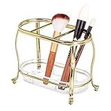 mDesign Make-up organizer per lavabo o armadietto - Portaoggetti per trucchi in metallo e plastica - Portaspazzole con 3 sezioni e piano d'appoggio estraibile - ottone e trasparente