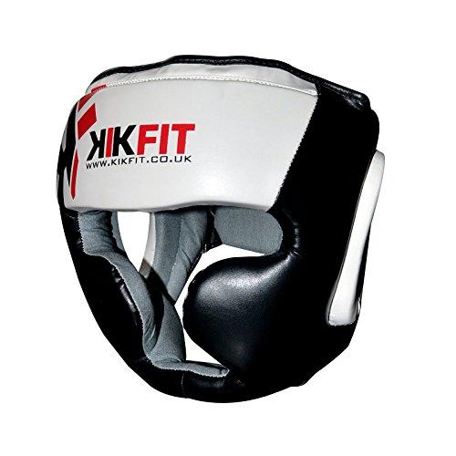 Pelle KIKFIT No Impact Open Face Caschetto arti marziali Casco Pugilato Calcio Gear Medium - Pelle Open Face