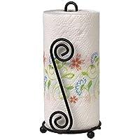 Woodykart Kitchen Tissue Roll Holder/Stand/Paper Towel Dispenser (Black | Wrought Iron | One Handed Tear)
