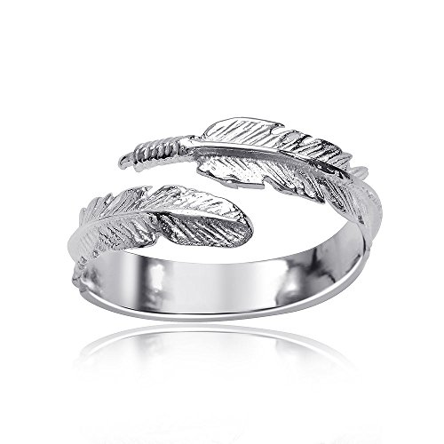 MATERIA Joyería 925 anillo plumas plata - anillo