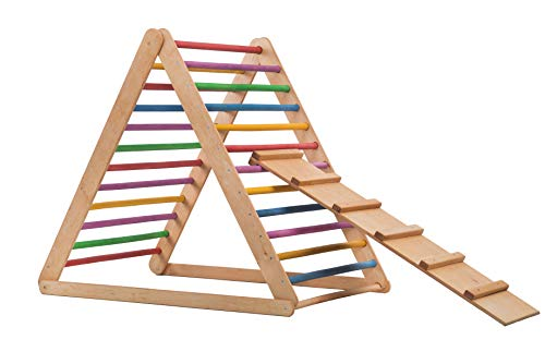 RINAGYM Triangolo Pik LeR, Triangolo a gradini 115*115*115, Scala rampicante per Bambino, Triangolo per Bambini, Rampe, diapositiva Doppia Faccia,spross Triangolo, Brett.