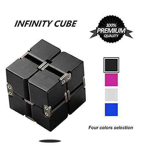 Unendlicher Würfel, P.LOTOR Magic Infinity Flip Cube Edc Fidgeting Square Shaped Release Stress Spielzeug für Angst und Langeweile, Schwarz Eloxiertes Aluminium