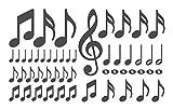 Wandtattoo Musik Noten und Notenschlüssel Teile Wohnzimmer Wandaufkleber Wands