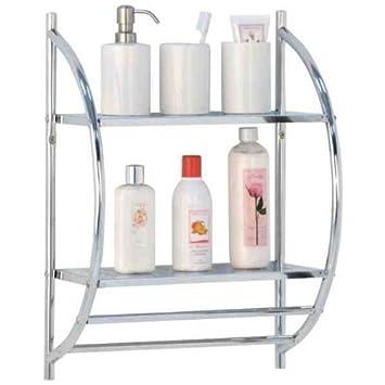 Elegant 2 Tier Chrome Bathroom Shelf Rack With Double Towel Rail By Rubiesofuk:  Amazon.co.uk: Kitchen U0026 Home